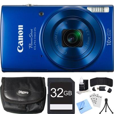 PowerShot ELPH 190 IS Blue Digital Camera w/ 10x Optical Zoom 32GB Card Bundle