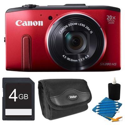 PowerShot SX280 HS Red Digital Camera 4GB Bundle