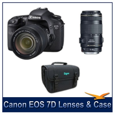 EOS 7D w/ 18-135mm and 70-300mm Lenses and Case - Instant Rebate Bundle