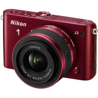 1 J3 14.2MP Digital Camera with 10-100mm VR Lens (Red) Manufacturer Refurbished