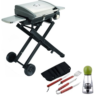 All Foods Roll-Away Gas Grill with Carteret BBQ Apron tool & Spice Mill