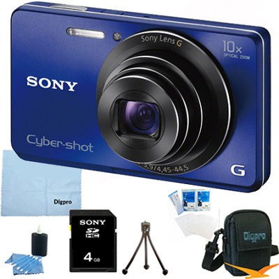 Cyber-shot DSC-W690 16MP 10X Zoom 720p Video Digital Camera (Blue) 4GB Bundle
