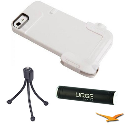 Quick Flip Case for iPhone 5-5/S + Pro Photo Adapter (White) Tripod/Power Bundle