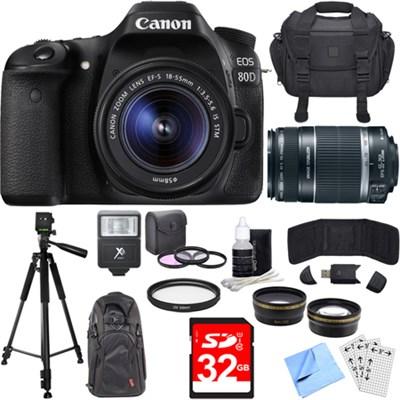 EOS 80D CMOS DSLR Camera w/ EF-S 18-55mm + 55-250mm Telephoto Lens 24GB Bundle