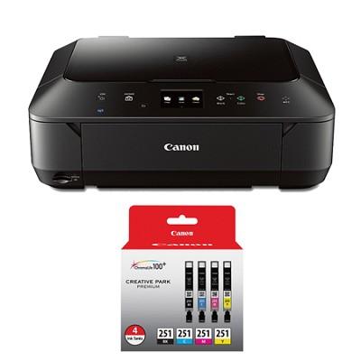 PIXMA MG6620 Wireless Color Photo All-in-One Inkjet Black Printer 4 Ink Bundle