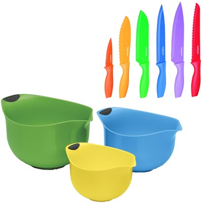 Set of 3 Multi Colored BPA-free Mixing Bowls with Advantage 12-Piece Knife Set