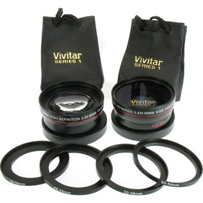 2.5X Telephoto and 0.45X Super Wide Angle high definition lens set (VIV-58-KIT)
