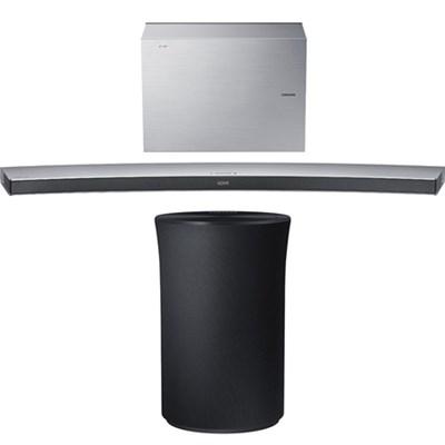 4.1 Channel Curved Wireless Soundbar White w/ Radiant 360 R1 Bluetooth Speaker