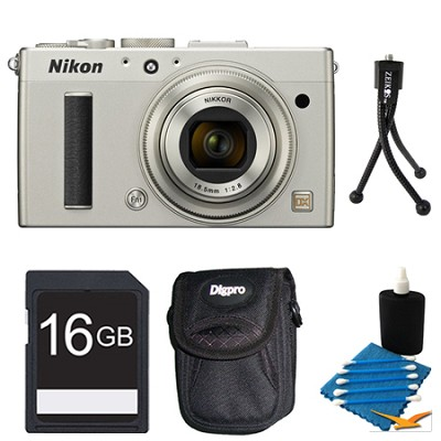 COOLPIX A 16.2 MP Digital Camera with 28mm f/2.8 Lens Silver 16GB Pro Kit
