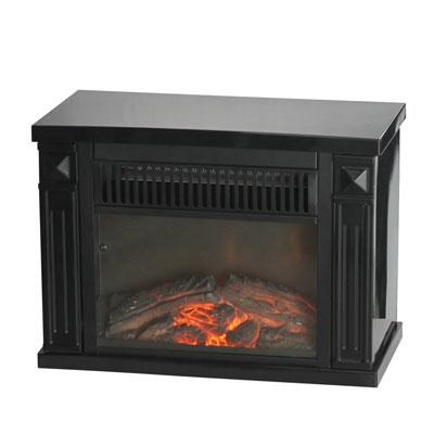 Comfort Glow Bookshelf Mini Fireplace in Black - EMF161