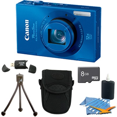PowerShot ELPH 520 HS Blue 10.1 MP CMOS Digital Camera 12x Zoom 8 GB Bundle