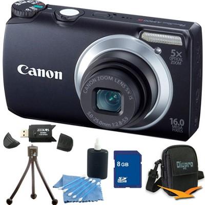 PowerShot A3300 IS 16MP Black Digital Camera 8GB Bundle