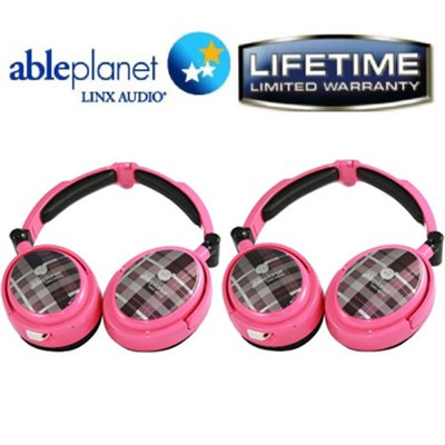2-Pack Extreme Noise Cancelling Foldable Headphones (Pink)