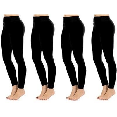 4-Pack Seamless Full Length Leggings Midnight Black One Size