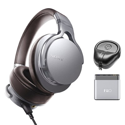 Premium Hi- Res Amp-Integrated Headphones - Silver w/ FiiO A1 Amplifier Bundle