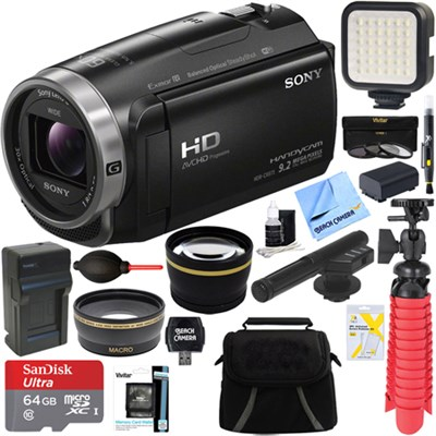 HDR-CX675/B Full HD Handycam Camcorder + Mini Zoom Microphone & Accessory Bundle
