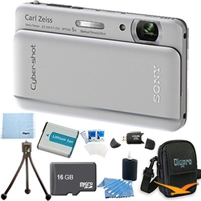Cyber-shot DSC-TX66 18.2 MP CMOS Camera 5X Zoom 3.3` OLED Silver 16GB Memory Kit