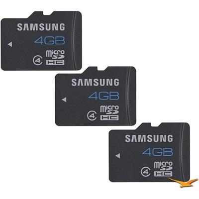 MicroSDHC 4GB Class 4 Memory Card - 3-Pack (Bulk Packaged)