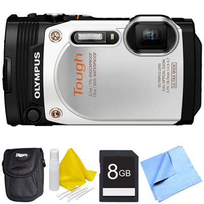 TG-860 Tough Waterproof 16MP Digital Camera with 3-Inch LCD - White Bundle