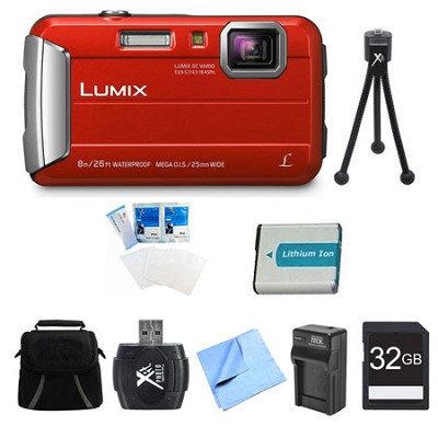 LUMIX DMC-TS30 Active Tough Red Digital Camera 32GB Bundle