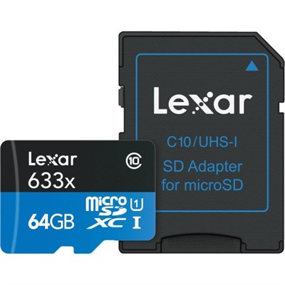 High-Performance 633x 64GB microSDXC UHS-I Class 10 Memory Card with Reader