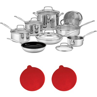 77-14N Chef's Classic 14-Piece Set, Stainless Steel w/2 Silicon Trivets