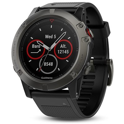 Fenix 5X Sapphire Multisport 51mm GPS Watch - Slate Gray with Black Band