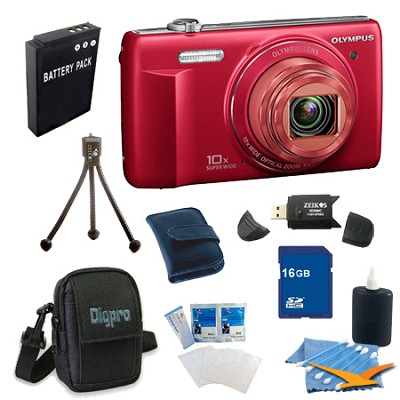 16 GB Kit VR-340 16MP 10x Opt Zoom 3-inch LCD Digital Camera - Red