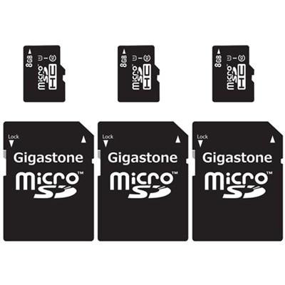 MicroSD HC 8GB C10 U1 With SD Adapter 3-Pack Bundle