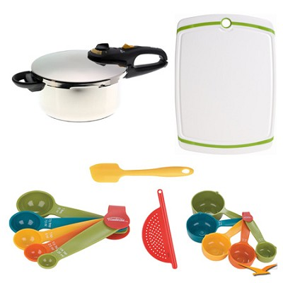 Duo 4 Qt. Stainless Steel Pressure Cooker, Board, and Measuring Sets Bundle
