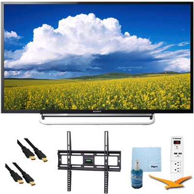 KDL48W600B - 48` LED HD 1080p Smart TV 60Hz Mount & Hook-Up Bundle
