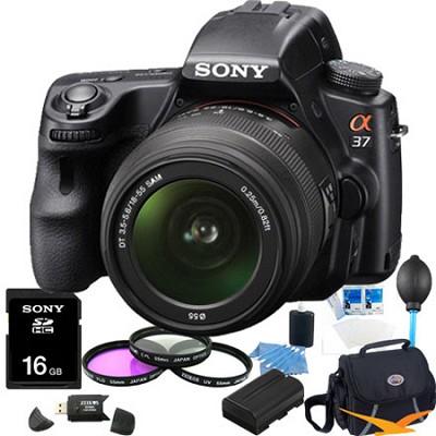 Alpha SLT-A37K 16.1 MP 16,000 ISO Digital SLR Kit w/ 18-55 Lens Ultimate Bundle