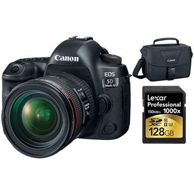 EOS 5D Mark IV 30.4 MP DSLR Camera + EF 24-70mm f/4L IS USM Lens 128GB Bundle