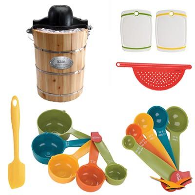Elite Gourmet Pine Bucket Electric/Manual Ice Cream Maker Deluxe Bundle
