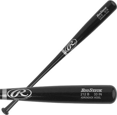 Adult Black Ash Wood Baseball Bat 33`