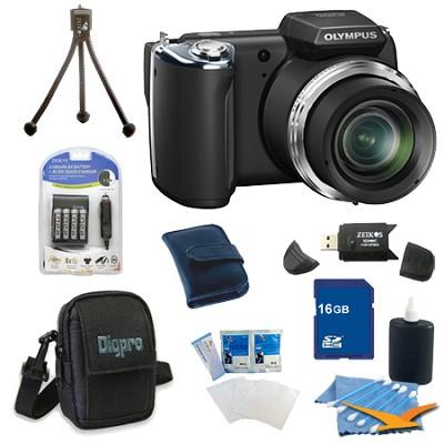 16 GB Kit SP-620UZ 16 MP 3-inch LCD Black Digital Camera - Black