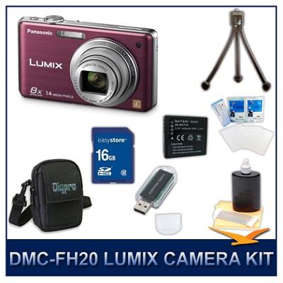 DMC-FH20V LUMIX 14.1 MP Digital Camera (Violet), 16GB SD Card, and Camera Case