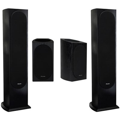 Two Pioneer SP-BS22A-LR Andrew Jones Dolby Bookshelf Speakers (Black) + Two Floorstanding Loudspeaker