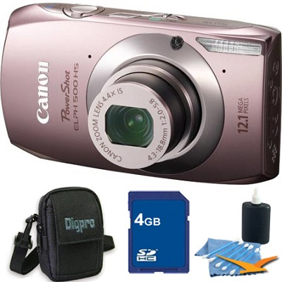 PowerShot ELPH 500 HS Pink Digital Camera 4GB Bundle