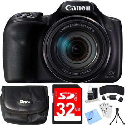 PowerShot SX540 HS 20.3MP Digital Camera w/ 50x Optical Zoom 32GB Card Bundle
