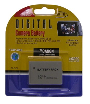 BP-5LCL 1150mah Battery Pack F/ Powershot SD700, SD800, SD850, SD900 (NB-5L)