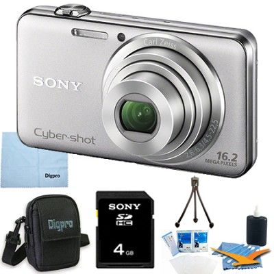DSC-WX50 - 16.2MP CMOS Camera 5X Zoom 2.7` LCD (Silver) 4GB Bundle