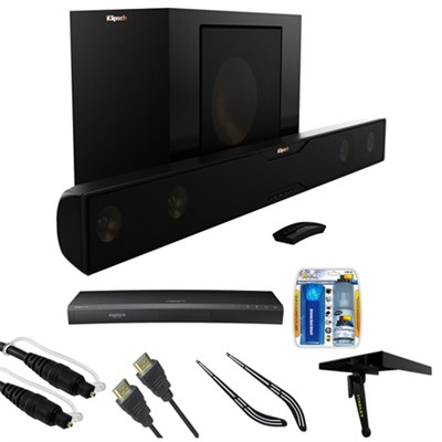 Bluetooth Soundbar with Wireless Subwoofer - Satin Black w/ HD Blu-ray Bundle