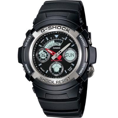 AW590-1A - G-Shock Ana-Digi Chronograph Black Resin (Silver Bezel)
