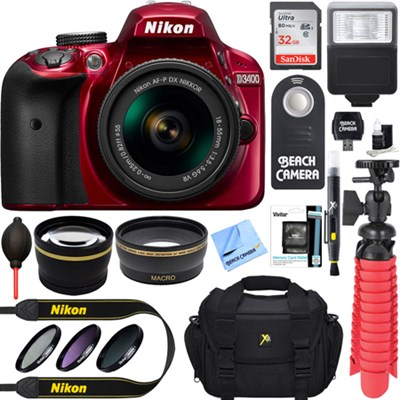 D3400 24.2 MP DSLR Camera w/ AF-P DX 18-55mm VR Lens Kit + Memory Bundle (Red)