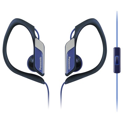 HS34 Sports Clip Earbud Headphones with Mobile Controller, Blue