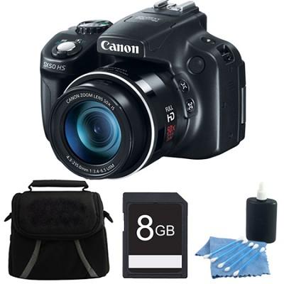 Powershot SX50 HS 50x Zoom High-Performance Camera 8GB Bundle