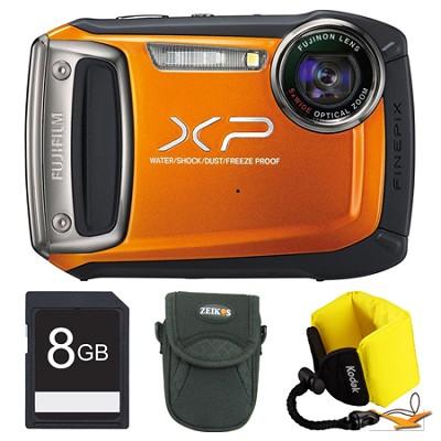 Finepix XP100 Orange Digital Camera 8GB Floating Strap Bundle