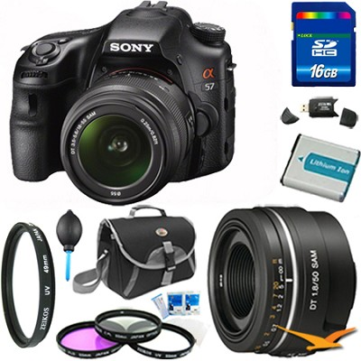 Alpha SLT-A57K 16.1 MP Digital SLR Kit w/ 18-55mm & 50mm f1.8 Lens Bundle