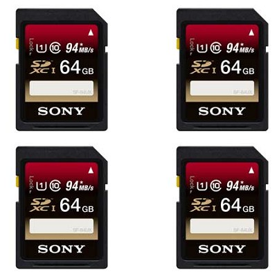 4-Pack of 64 GB Secure Digital (up to 94MB/s) SDXC Memory Card - Class 10